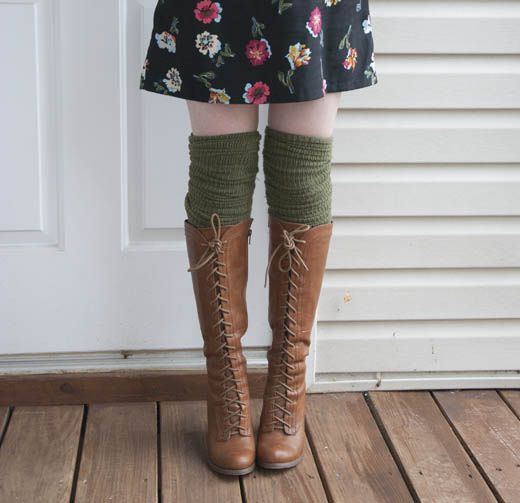 Via Pixie in Pumps - floral dress, brown lace up boots, and tall olive socks . - 85 Best Boot Socks Images On Pinterest Boot Socks, Boots And