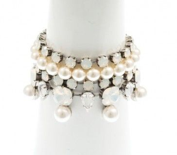 Bracelet with Swarovski pearls, crystals and strasses, by Art Wear Dimitriadis -Handmade-