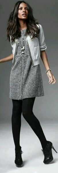 Slate Grey sweater dress black tights light grey cardi sweater with pipping black shoes