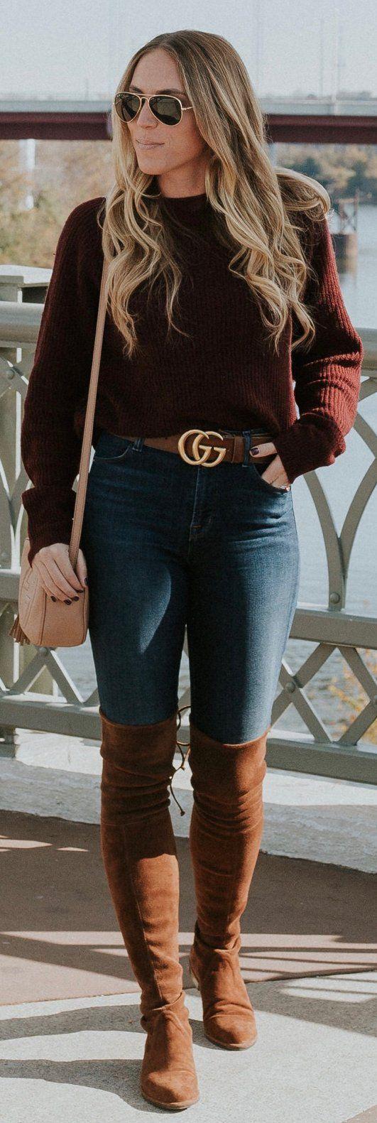 Brown Knit / Navy Skinny Jeans / Brown Velvet OTK Boots