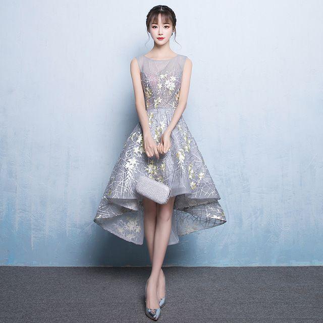 Weiyin 2017 nova elegante do laço vestido de noite o banquete noiva sweet cinza flor assimetria mangas prom vestidos de festa curto