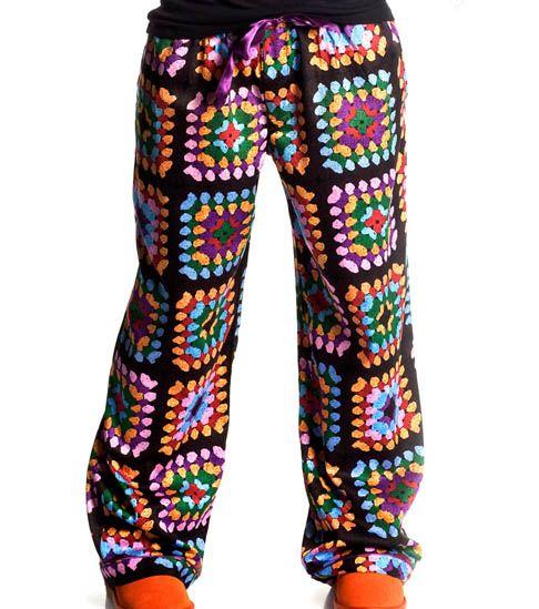 Granny Square Motif Printed Pj Pants Oh Man I Want These