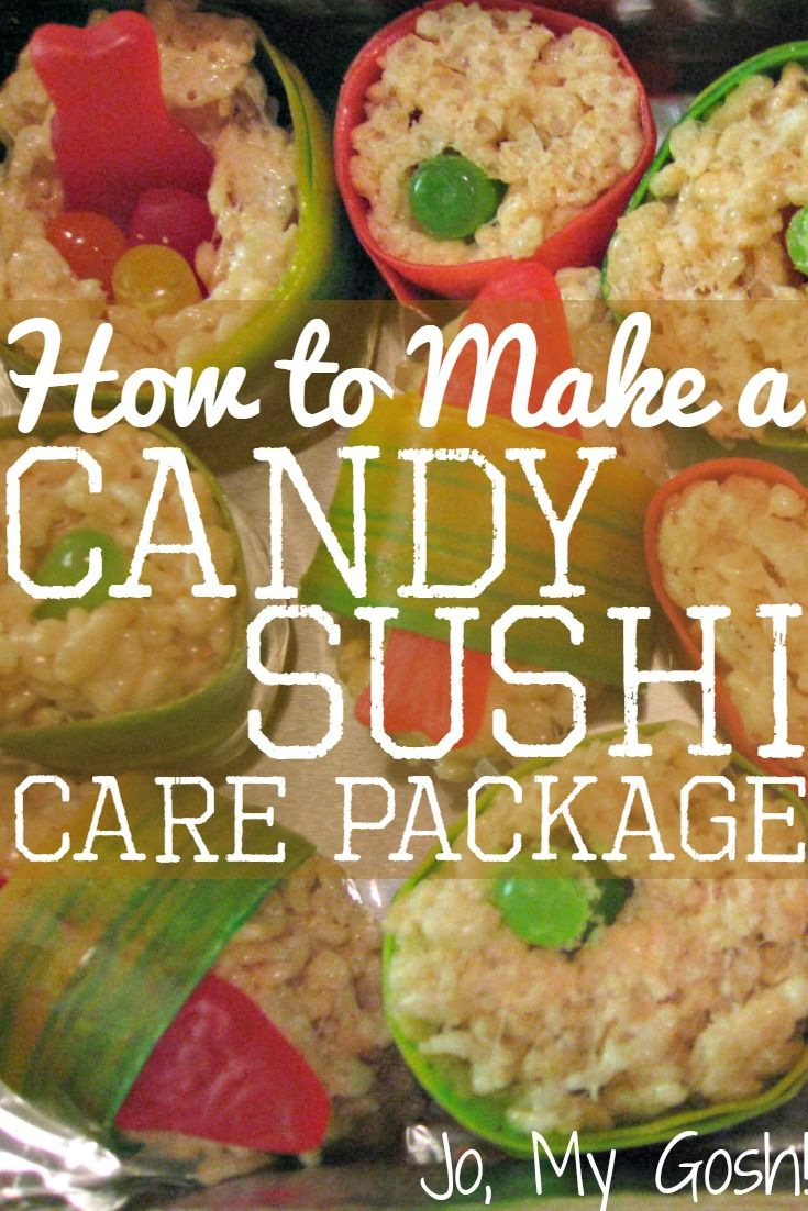Send a box of candy sushi to a loved one! This funny and thoughtful care package is perfect for deployed military, college students, and missionaries.