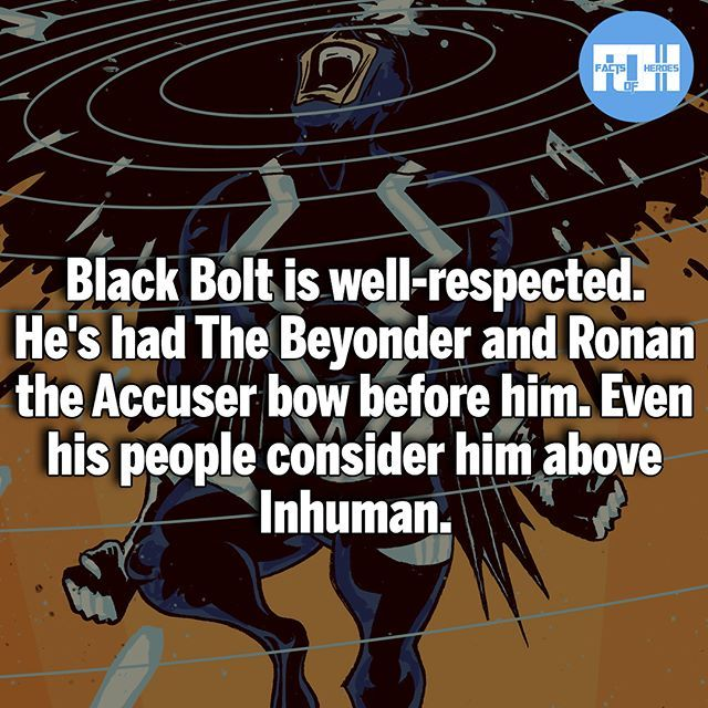 Hopefully the Inhumans TV show does Black Bolt Justice! - My other IG accounts @factsofflash @yourpoketrivia @webslingerfacts ⠀⠀⠀⠀⠀⠀⠀⠀⠀⠀⠀⠀⠀⠀⠀⠀⠀⠀⠀⠀⠀⠀⠀⠀⠀⠀⠀⠀⠀⠀⠀⠀⠀⠀⠀⠀ ⠀⠀----------------------------------------- #batmanvssuperman #xmen #batman #superman #wonderwoman #deadpool #spiderman #hulk #thor #ironman #marvel #bluelantern #theflash #wolverine #daredevil #aquaman #justiceleague #homecoming #blackpanther #timdrake #starwars #wallywest #avengers #darkseid #zacksnyder #professorzoom #blackbolt…