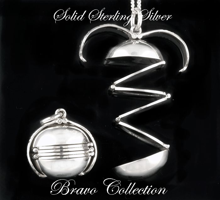 5P-134 Hallmark 925 Solid Sterling Silver Ball Photos New Locket Necklace Chain