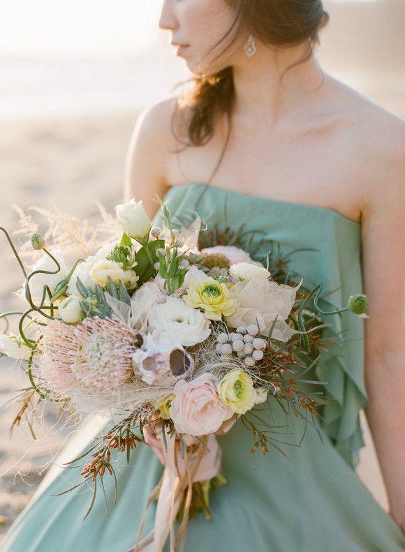 50 Shades of Greyed Jade Wedding Ideas - bridal bouquet; Laura Murray Photography