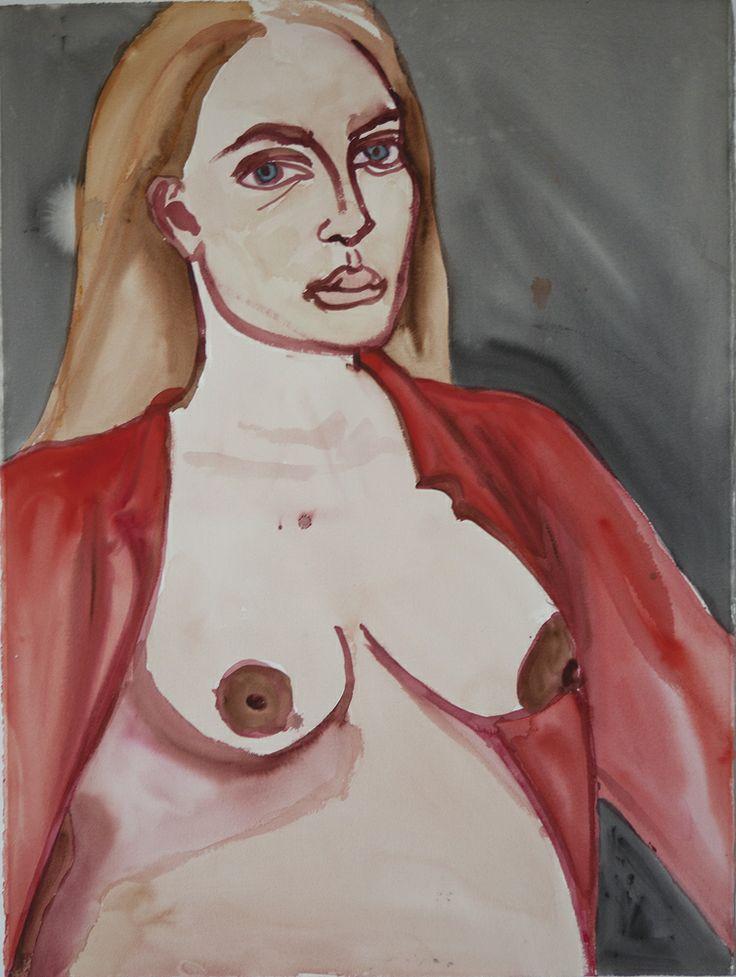 """Jemima Kirke          2010 watercolor on paper 30""""x22"""""""
