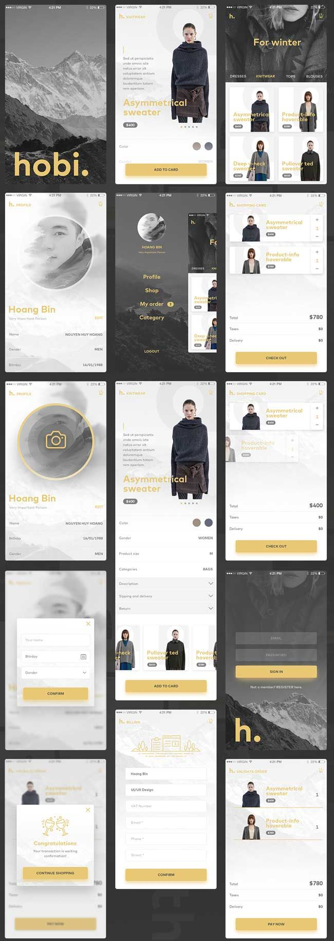 Free Fashion Ecommerce App UI PSD