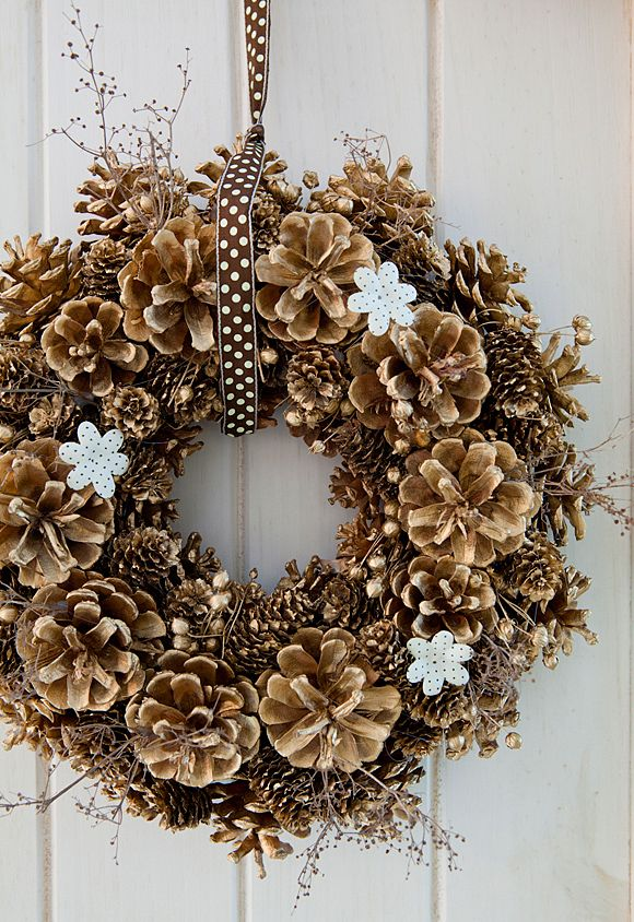 sneakers white leather DIY  pine cone wreath
