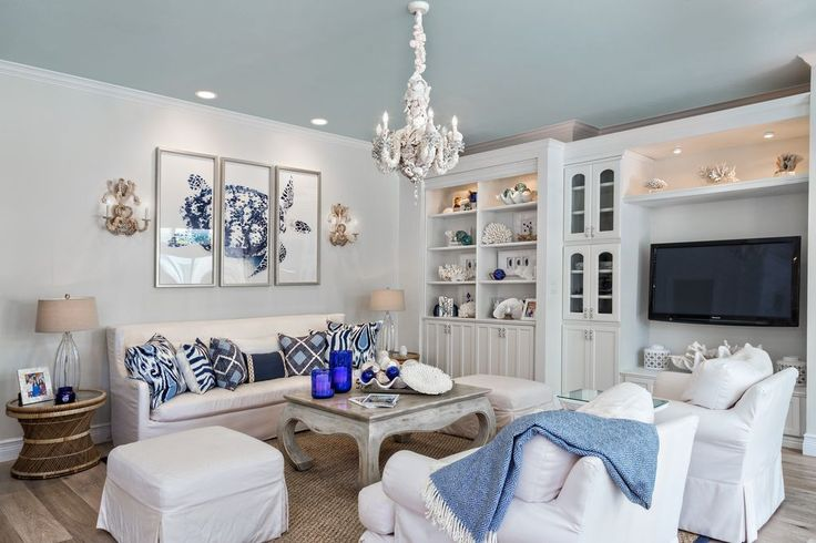 Cottage Living Room with Built-in bookshelf, Melissa Van Hise Blue Turtle 3 Piece Framed Graphic Art Set, Carpet, Chandelier