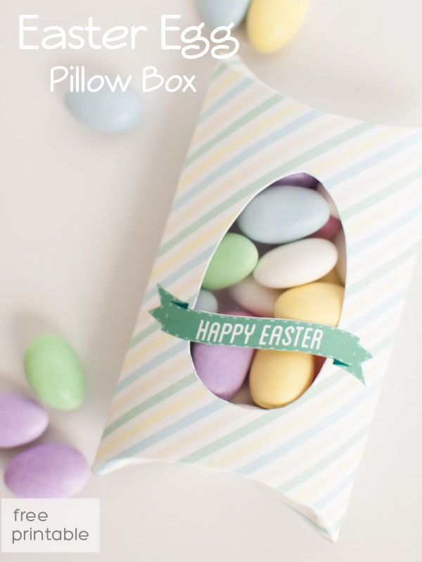 free box template for Easter treats, printable pillow box template