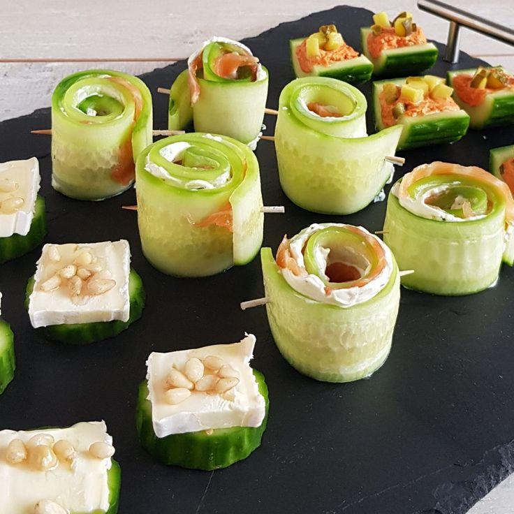 3x hapjes met komkommer (met zalm, met filet americain en met brie