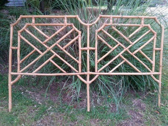 SALE Bed Backboard. Mid Century. Chinoiserie Bed Frame. Bamboo Large Bed Frame. Full Size. 77 Inches Long. Bedroom. Bohemian Hosue Beautiful
