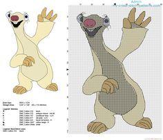Sid il bradipo personaggio del cartone film L'Era Glaciale schema da ricamare
