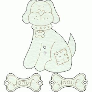 Lovely de mdf pintado a mão cachorro com  dois ossos cor 01