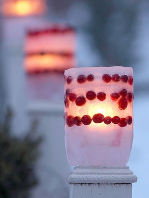 Ice lanterns - 2 liter bottle, 1 liter bottle, to get cranberries in lines, freeze in layers.  loosen ice from molds and put candle in lantern.