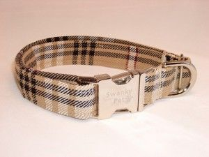 Burberry Dog Collar. Burberry-style Plaid Dog Collar by Swanky Pet!