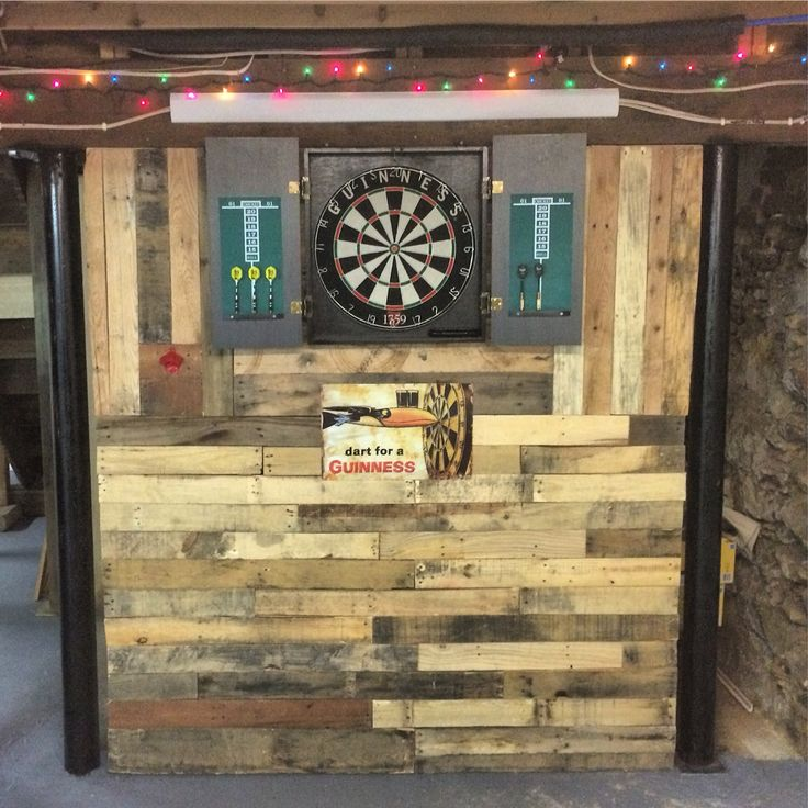 Pallet Wall In Man Cave Built For Dart Board House