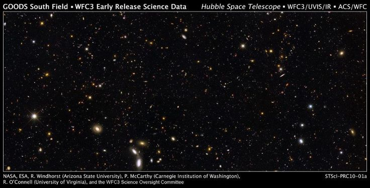 The GOODS/ERS2 field, the first ultra-deep wide field image of the Universe. Image credit: NASA, ESA, R. Windhorst, S. Cohen, M. Mechtley, and M. Rutkowski (Arizona State University, Tempe), R. O'Connell (University of Virginia), P. McCarthy (Carnegie Observatories), N. Hathi (University of California, Riverside), R. Ryan (University of California, Davis), H. Yan (Ohio State University), and A. Koekemoer (Space Telescope Science Institute).