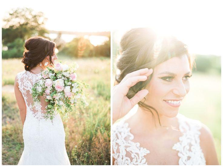 Demetrios wedding dress, pink and green bouquet, wedding hair, wedding updo, bridal portraits by Dallas wedding photographer Adria Lea Photography