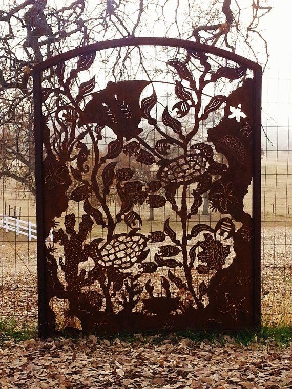 Rusty Garden Metal Art Garden Gate Garden Screen Ocean Scene Metal Plasma Hand Cut on Etsy, $685.00