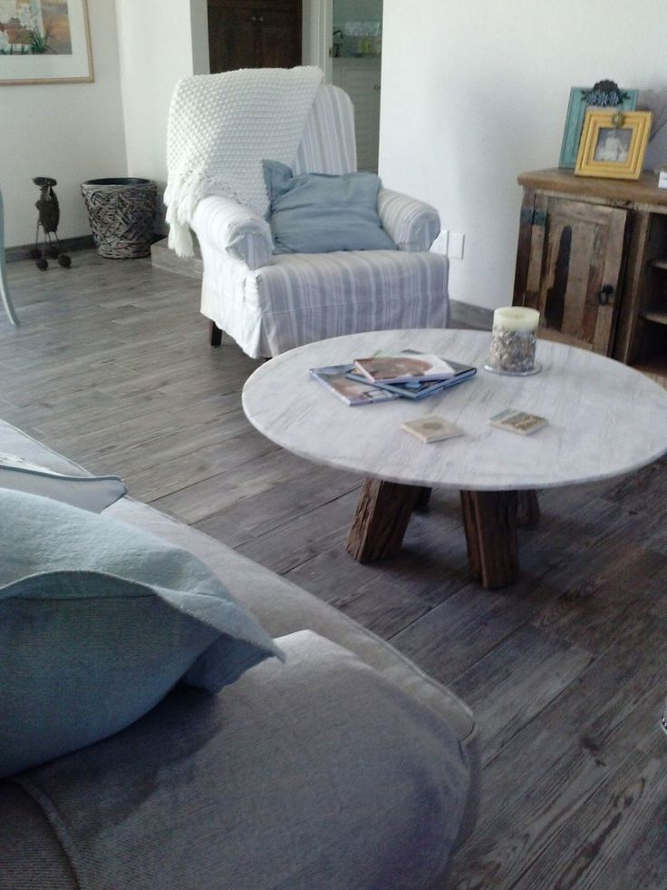 Enchanting Grey Wood Floors With Natural Style Views: Sophisticated Round  White Mosaic Marble Coffee Table On Marvelous Grey Wood Floors Planks With  White ...