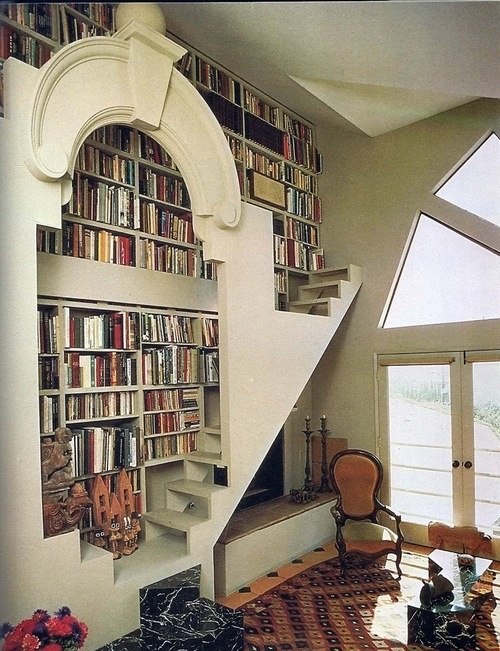 Library, creative stairs and shelves
