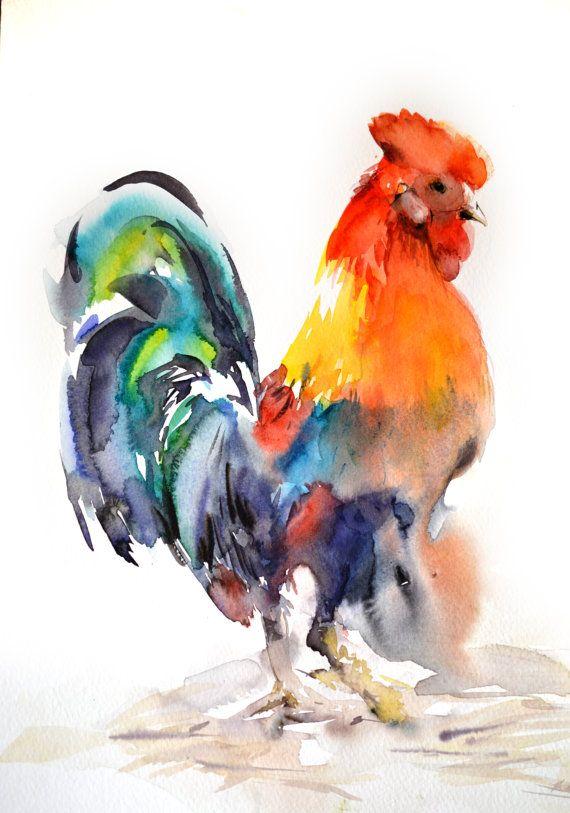 Peinture de coq, peinture aquarelle originale, Art de l