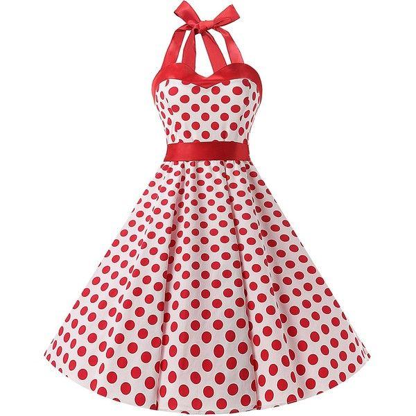 DRESSTELLS Vintage 1950s Rockabilly Polka Dots Audrey Dress Retro... ($9.99) ❤ liked on Polyvore featuring dresses, vintage homecoming dresses, vintage prom dresses, vintage dresses, polka dot dress and vintage rockabilly dresses