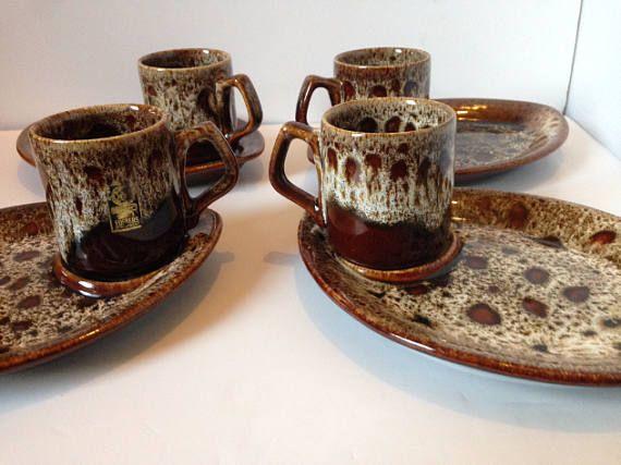 FOSTERS 1960's 8 piece coffee set Cornish Pottery