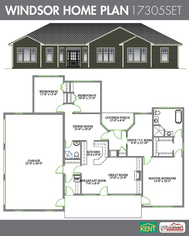 Three Rooms Apartment With A Big Modern Kitchen: Windsor 3 Bedroom, 2 Bathroom Home Plan. Features: Open