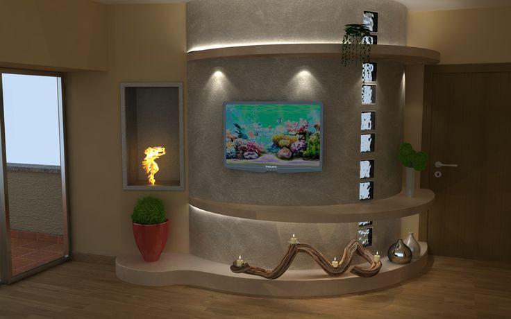 Render fotorealistico di una parete tv