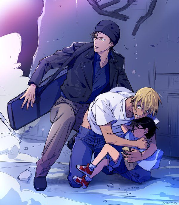 Detective Conan.  Awesome pic, with a very protective Bourbon and Akai protecting Conan.  This could be evocative of the series' finale, or at least an awesome fanfic spin on it.