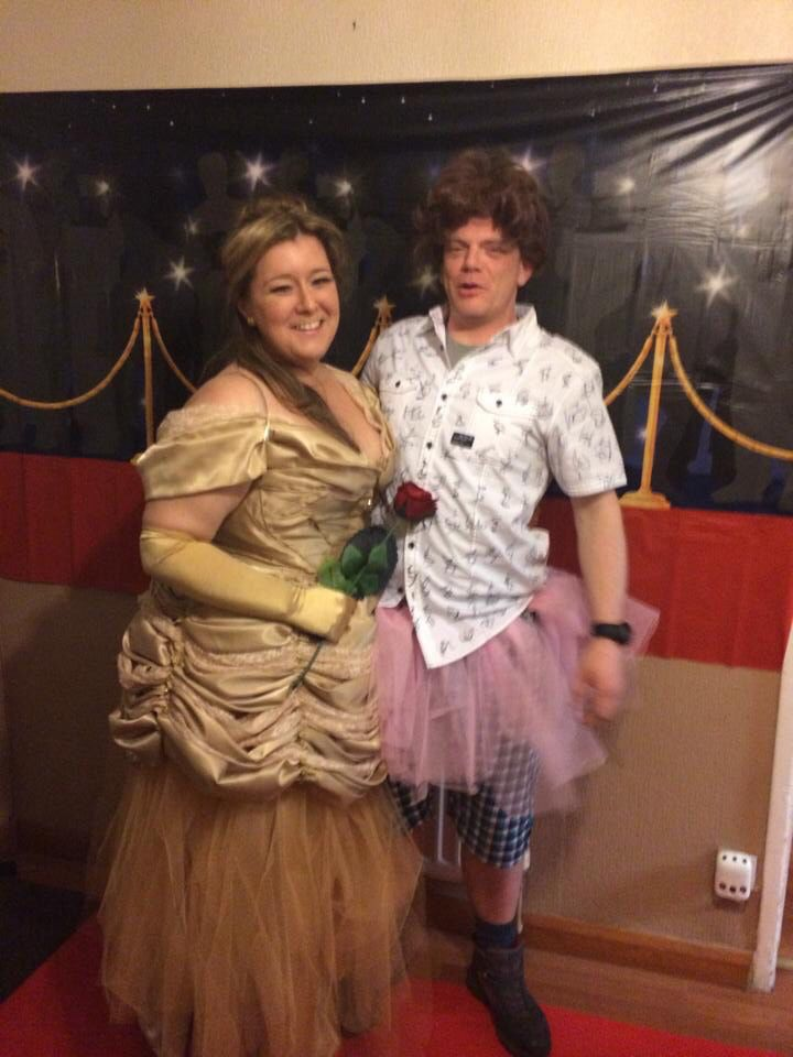 Belle goes to Hollywood!  Fancy dress Disney Belle ballgown Hollywood theme posing with Ace Ventura
