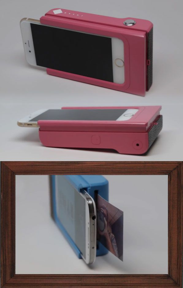 Not just another phone case. This is the new generation of polaroid camera. This simple design sends a photo to the case over Bluetooth. The current version takes about 50 seconds from photo to printed paper and can only hold one piece of paper at a time. But the planned consumer version will hold 10-30 sheets of paper and take fewer than 30 seconds to print.