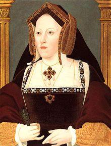 Catherine d'Aragon fut la première épouse d'Henri VIII, vers 1525 Portrait d'une femme portant un manteau de velours et une coiffe aux brodures dorées
