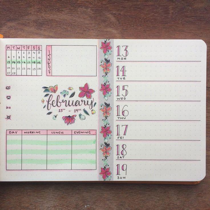 "179 Likes, 8 Comments - Josie (@journalphine) on Instagram: ""Next week's spread, ready to go  #bulletjournal #bujo #bujoweekly #weeklyspread #floraltheme…"""