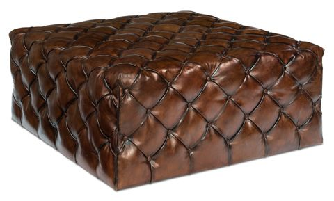 Sarreid Ltd. - Large English Tufted Leather Ottoman - 30439