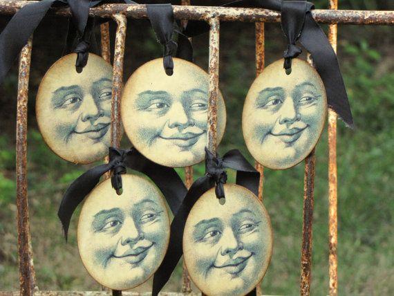 Set of 5 Vintage MOON Halloween Tags Ornaments by JanieDMattern