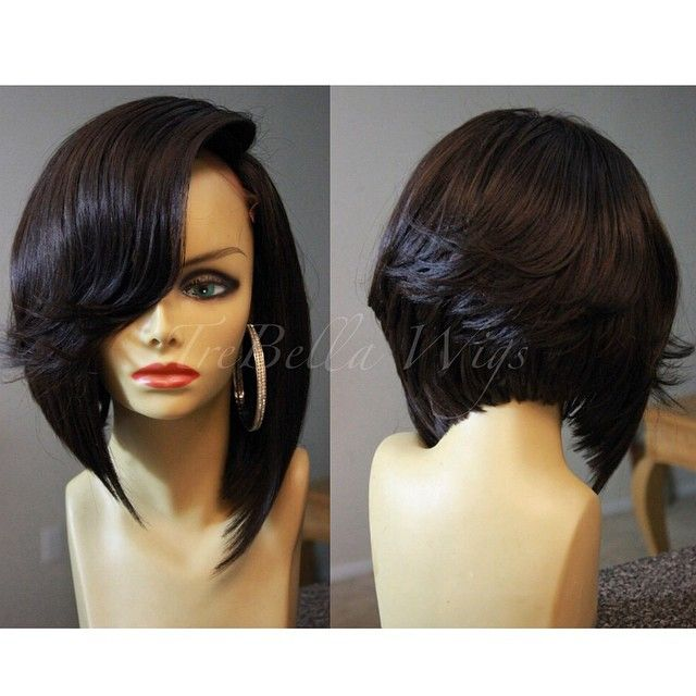 Deep Side Part Weave Bob with Bang