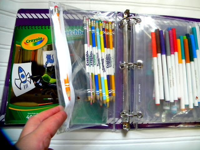 Organize your art supplies into a 3-ring binder with clear pencil pouches.  Small enough for kids to carry and portable enough to take in the car on a moment's notice.  #helpful tip  #organization