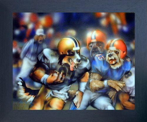 Jazz up your kids room's appeal with this amazing dogs playing football Dan McManus kids room art print framed poster. It would be an Ideal gift for every dog lover. Its espresso frame beautifully highlights the print of the poster. The frame is made from solid wood measuring 20x24 inches wide and deep with a smooth gesso finish. This framed poster includes wall hanging hardware for easy installation. Hurry up and make your order today and enjoy your surroundings!
