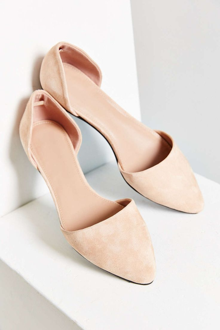 peach suede d'orsay flat
