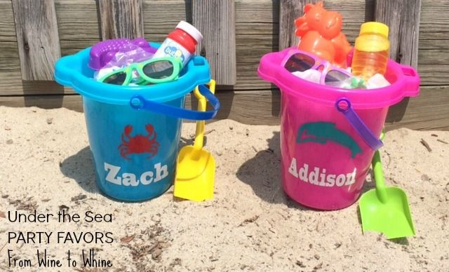 Under the Sea Party Favors! Personalized Buckets @ From Wine to Whine. Great idea for a beach party, pool party or Under the Sea party theme.