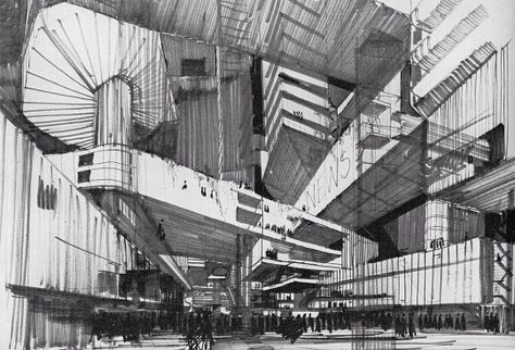 proposed development for nottingham city centre by peter winchester (arthur swift & partners) c.1965 drawings: peter winchester
