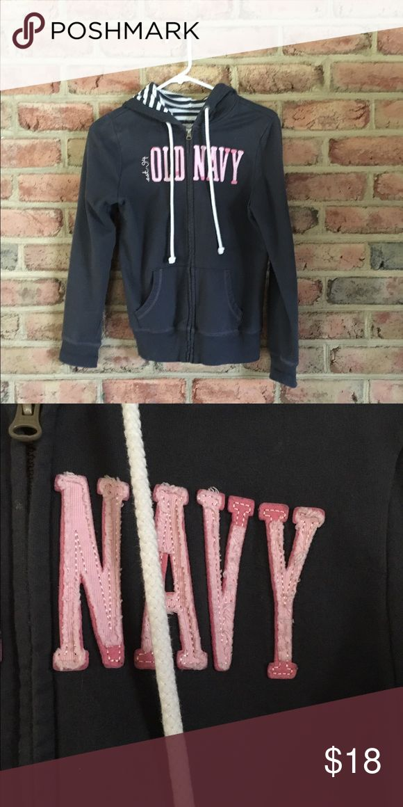 Old Navy Zip-up Hoodie GUC zip-up hoodie. Weathering to the lettering is intentional. See 2nd pic. Old Navy Tops Sweatshirts & Hoodies