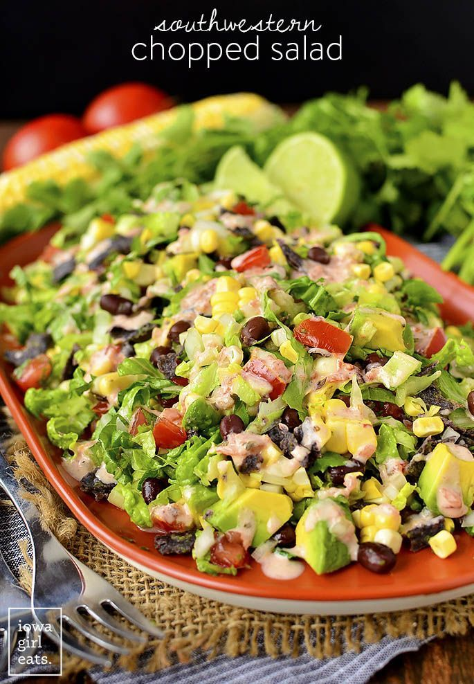 nice Southwestern Chopped Salad is a party on a platter! Filling, fresh, and colorful...