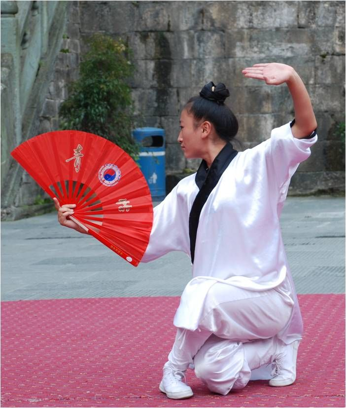 "A Daoist nun practices Fan Kung Fu.   Fan dancing was originally a palace entertainment performance and becomes popular as a mass exercise since the 1980s after a retired man from Shanghai developed a dancing-like gentle and elegant ""flower posture fist"" (Huajia Quan)."