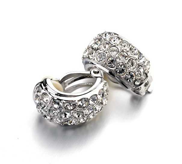 White gold-plated and crystal clip-on earrings