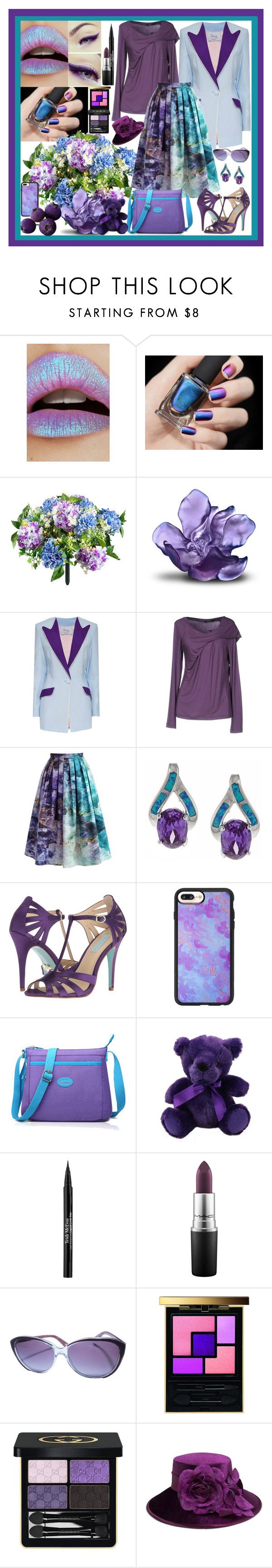 """Blue & Purple"" by fantasiegirl ❤ liked on Polyvore featuring Lime Crime, Improvements, Daum, Hebe Studio, Blue Les Copains, Chicwish, La Preciosa, Betsey Johnson, Casetify and Trish McEvoy"